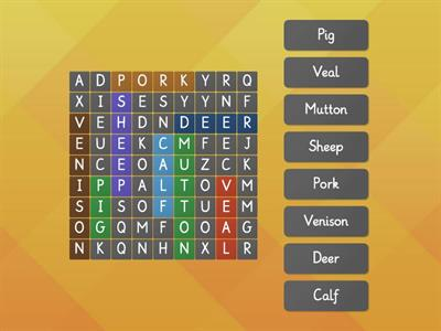 Word finder: Food and animals