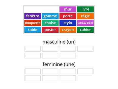 Which gender? Dans ma classe.