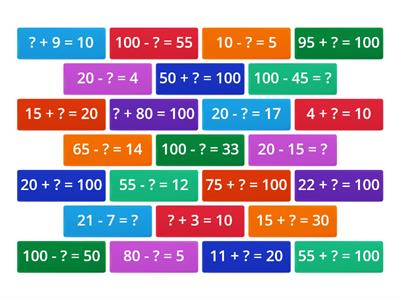 bonds to 20 and 100 maths tiles