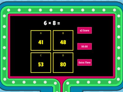 Times tables x6 Game Show