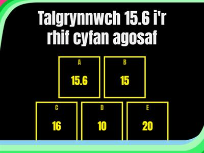 Number and HD quiz - Cymraeg