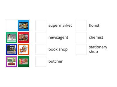 match the shops to the pictures
