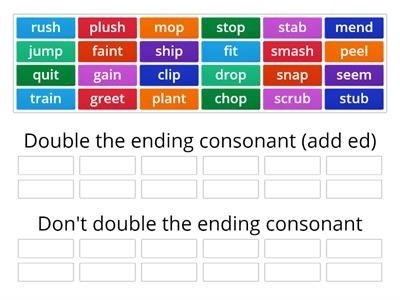 Doubling rule: 1 + 1+ 1 (syllable, vowel, one ending consonant)