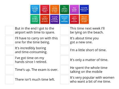 Time - match sentences to time expressions