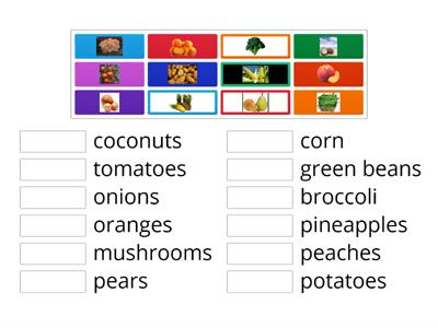 Year 1-Fruit and Veg (textbook page 54) Match the correct pictures.