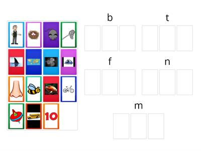 Beginning Sounds Picture Sort t/b/f/n/m