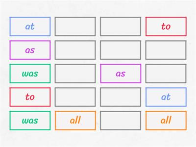 Matching List 2 High Frequency words