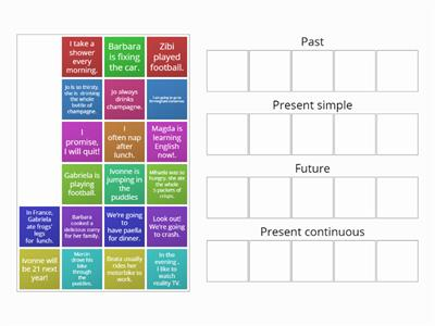 Past, present and future tense sorting