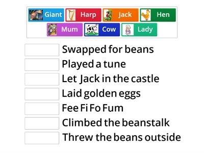 Jack & the Beanstalk - characters and actions