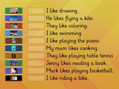 Match the pictures with the sentences