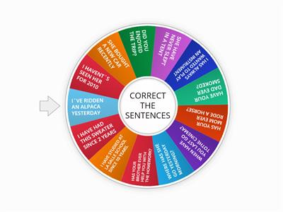 PRESENT PERFECT/SIMPLE PAST- CORRECT THE SENTENCES
