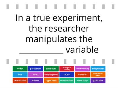 Research Methods Terminology Check