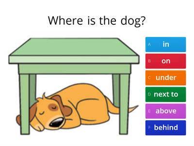 Prepositions - in on under next to behind between in front of