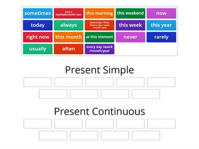 Time expressions ( Present Simple vs. Present Continuous)