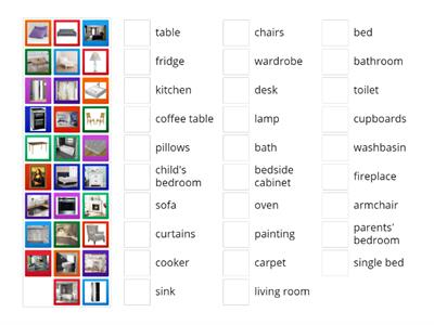 Places of a house, furniture & appliances (matching activity)