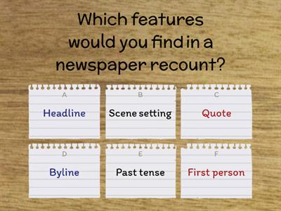 Features of a newspaper report Quiz