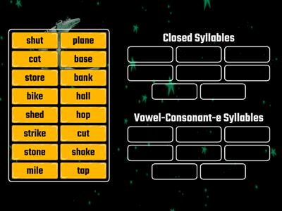 Sort Closed Syllables andVowel-Consonant-e Syllables