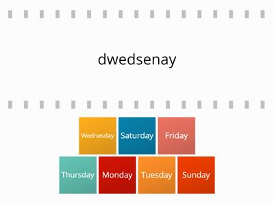 Days of the week Flip Tiles