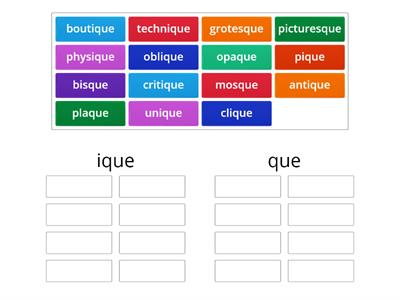 Sorting -que and -ique