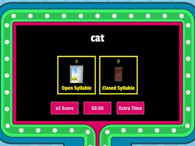 Open and Closed Syllables Game Show