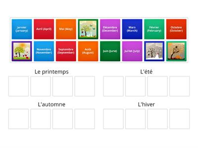 Les saisons: place the boxes in the right group