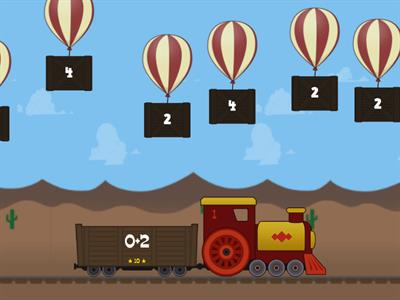 Addition facts to 5 Balloon Pop