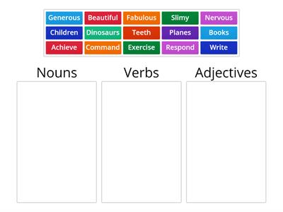 Nouns, Verbs, Adjectives (using categorize)