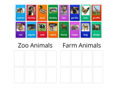 Zoo Animals and Farm Animals