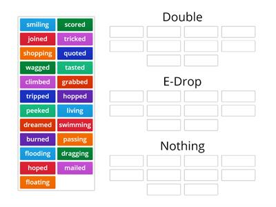 SA Sort 4: Inflected Endings: Double, Drop, or Nothing