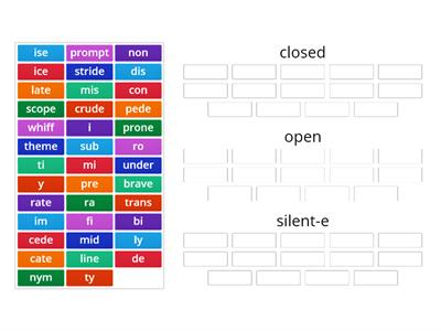 Closed, Silent-e, r-controlled syllables & words