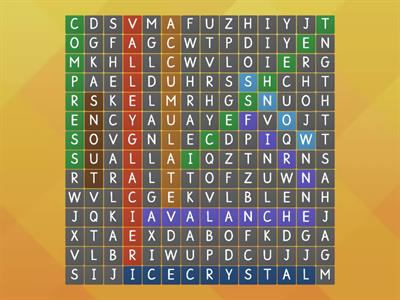 glaciation key words wordsearch