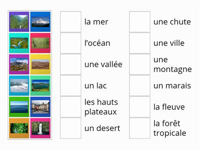 Matching game - water features in FRENCH