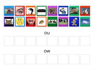 ou and ow picture sort