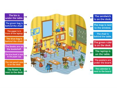 Prepositions of place / Classroom