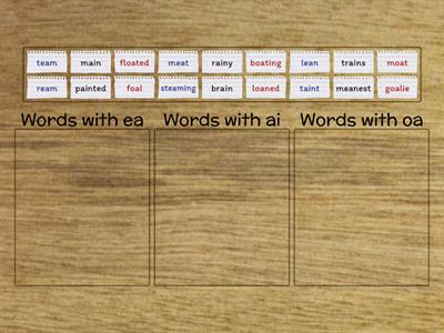 Vowel Teams (with Suffixes) Sort