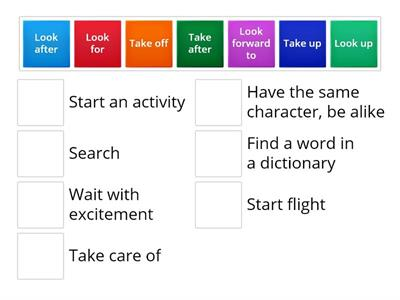Phrasal verbs LOOK and TAKE