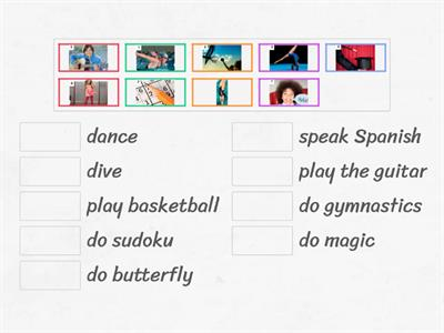 Match the pictures with the action verbs