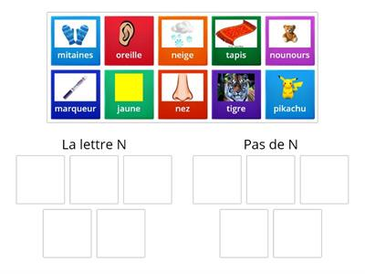 Letter N in word (with pictures) - French
