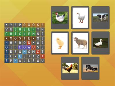 Farm animals: cow, hen, goose, rooster, chicken, horse, chicken, sheep