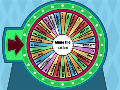 Spin the wheel and mime the action