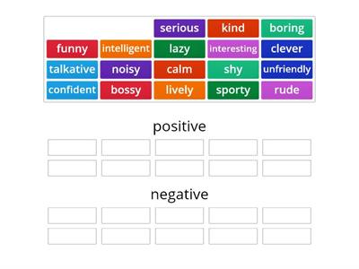 Personality (positive and negative)