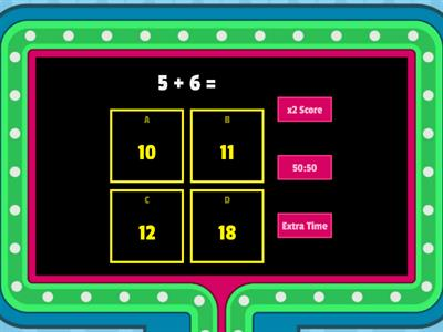 Maths Gameshow addition 1- 20