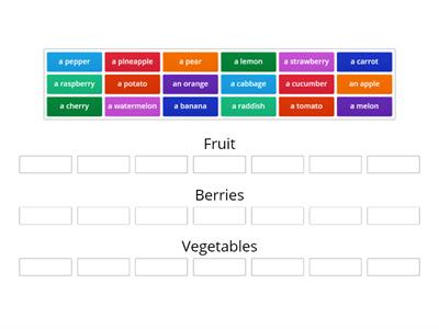Sort out vegetables/fruits/berries