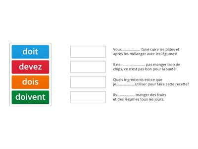 Le verbe devoir - phrases