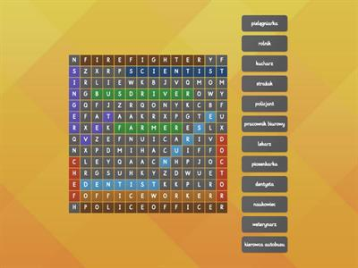 Wordsearch - Jobs - Our World 2 - unit 8