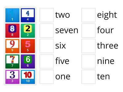 one to ten English numbers