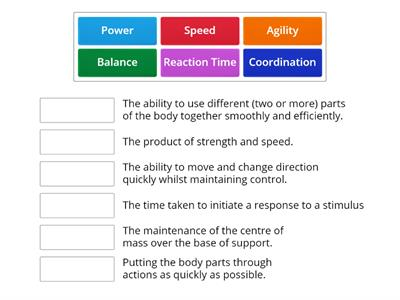 Components of Skill Related Fitness