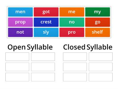 Open & Closed Syllable Sort