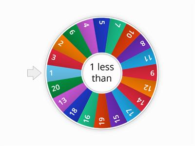 K  1 More than 1-10/  spin and say, 1 less than _ is _. Press eliminate each time until all have gone.