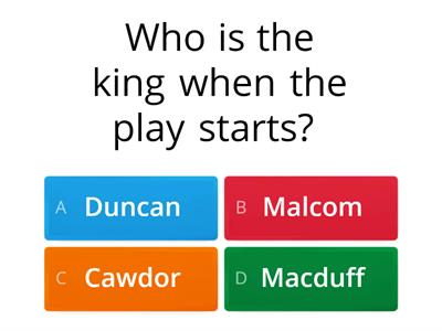Act 1 Quiz Macbeth